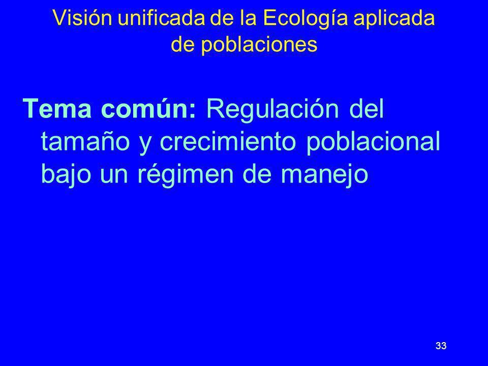 33 Visión unificada de la Ecología aplicada de poblaciones Tema común: Regulación del tamaño y crecimiento poblacional bajo un régimen de manejo