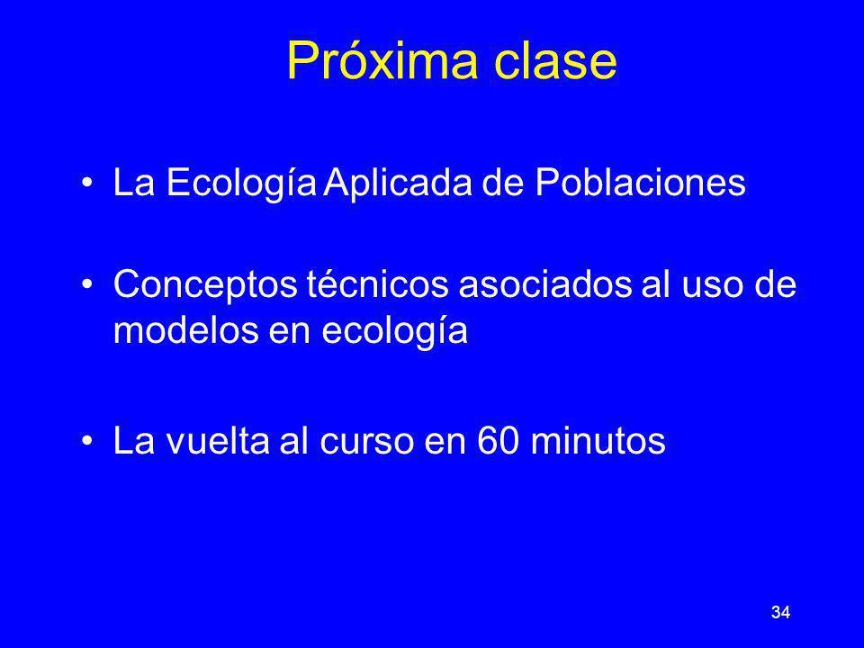 34 Próxima clase La Ecología Aplicada de Poblaciones Conceptos técnicos asociados al uso de modelos en ecología La vuelta al curso en 60 minutos