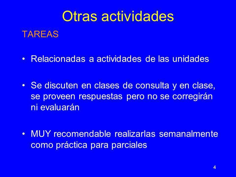 4 Otras actividades TAREAS Relacionadas a actividades de las unidades Se discuten en clases de consulta y en clase, se proveen respuestas pero no se c