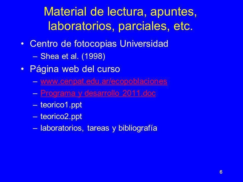 6 Material de lectura, apuntes, laboratorios, parciales, etc. Centro de fotocopias Universidad –Shea et al. (1998) Página web del curso –www.cenpat.ed