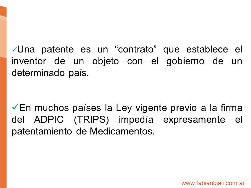 Una patente es un contrato que establece el inventor de un objeto con el gobierno de un determinado país. En muchos países la Ley vigente previo a la