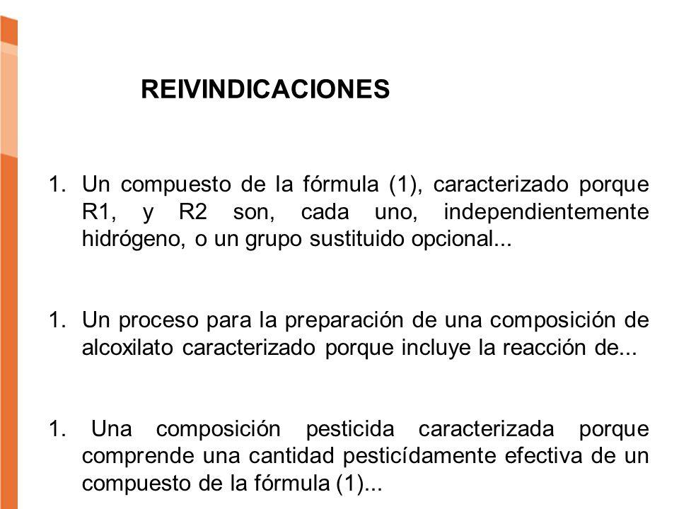 REIVINDICACIONES 1.Un compuesto de la fórmula (1), caracterizado porque R1, y R2 son, cada uno, independientemente hidrógeno, o un grupo sustituido op