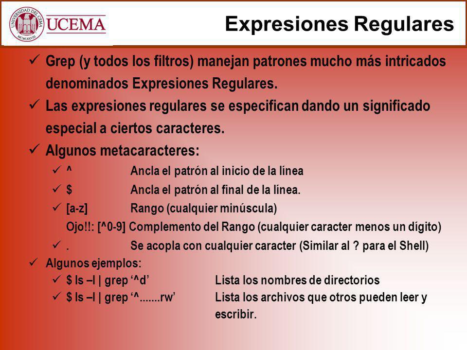 Expresiones Regulares (cont.) Operador cerradura * Se aplica al caracter o metacaracter anterior (incluyendo un rango), y en conjunto concuerdan con cualquier número de acomplamientos sucesivos del caracter o metacaracter.