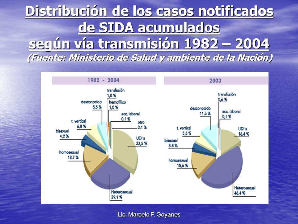 Distribución de los casos notificados de SIDA acumulados según vía transmisión 1982 – 2004 (Fuente: Ministerio de Salud y ambiente de la Nación)