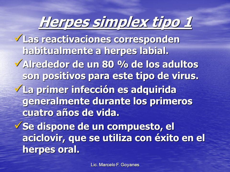 Lic. Marcelo F. Goyanes Herpes simplex tipo 1 Las reactivaciones corresponden habitualmente a herpes labial. Las reactivaciones corresponden habitualm
