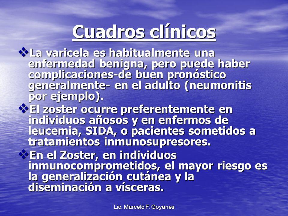 Lic. Marcelo F. Goyanes Cuadros clínicos La varicela es habitualmente una enfermedad benigna, pero puede haber complicaciones-de buen pronóstico gener