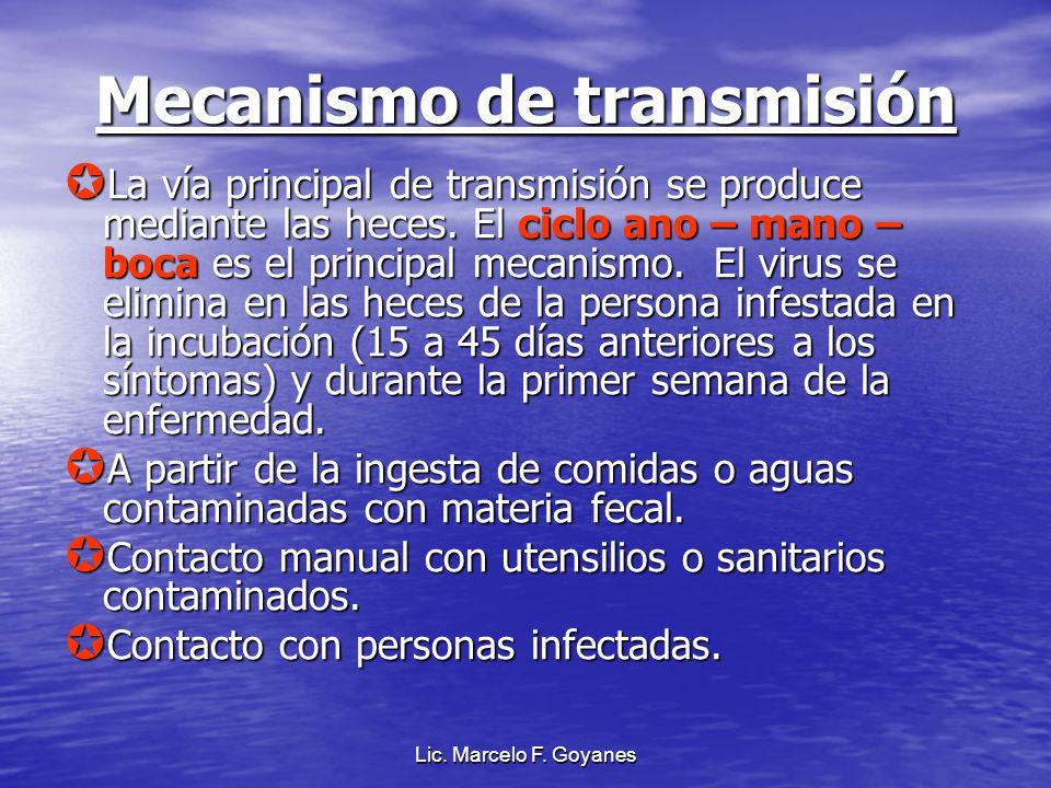 Lic. Marcelo F. Goyanes Mecanismo de transmisión La vía principal de transmisión se produce mediante las heces. El ciclo ano – mano – boca es el princ