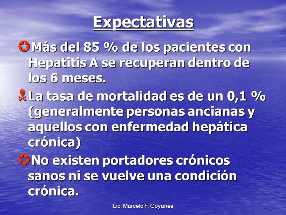 Lic. Marcelo F. Goyanes Expectativas Más del 85 % de los pacientes con Hepatitis A se recuperan dentro de los 6 meses. Más del 85 % de los pacientes c