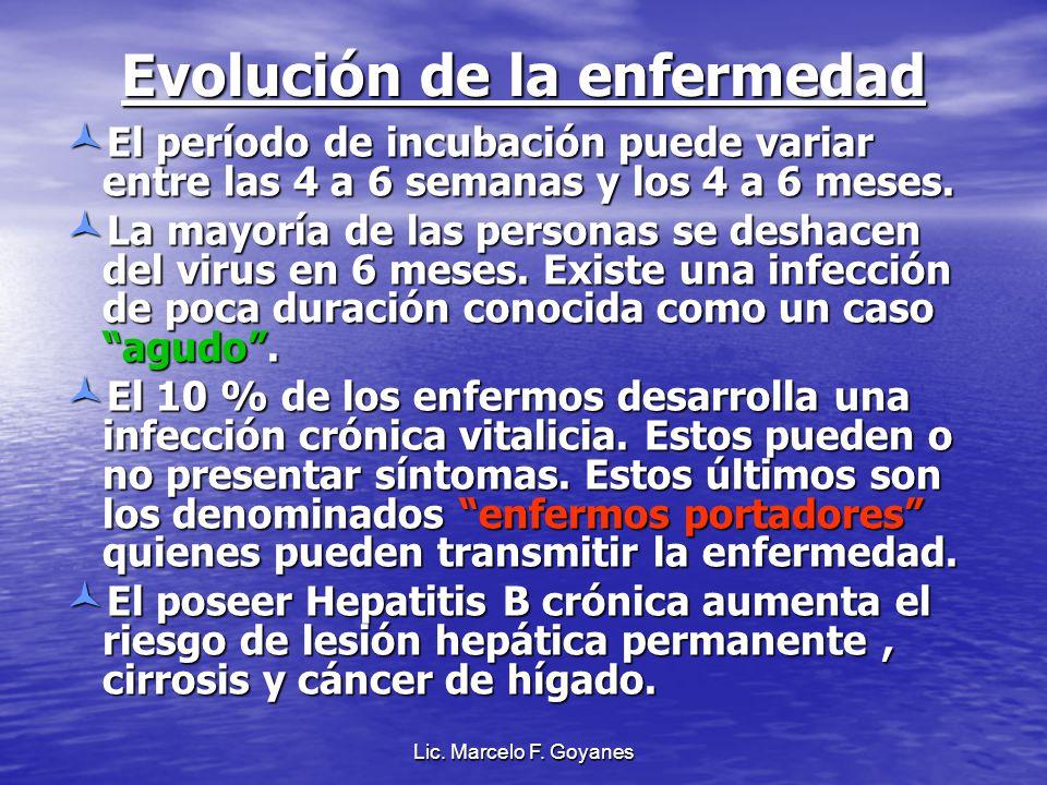 Evolución de la enfermedad El período de incubación puede variar entre las 4 a 6 semanas y los 4 a 6 meses. El período de incubación puede variar entr