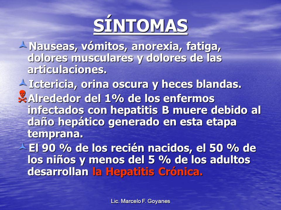 Lic. Marcelo F. Goyanes SÍNTOMAS Nauseas, vómitos, anorexia, fatiga, dolores musculares y dolores de las articulaciones. Nauseas, vómitos, anorexia, f
