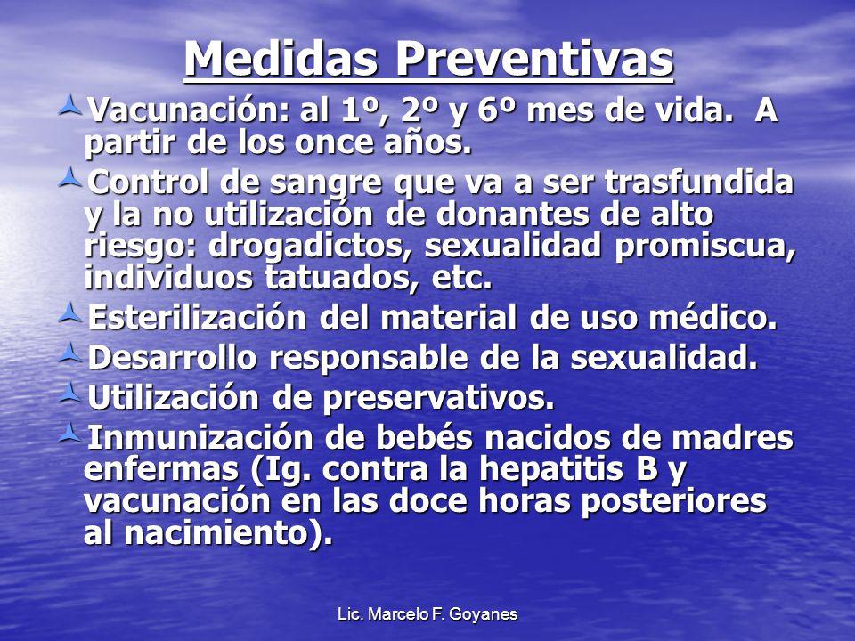 Medidas Preventivas Vacunación: al 1º, 2º y 6º mes de vida. A partir de los once años. Vacunación: al 1º, 2º y 6º mes de vida. A partir de los once añ