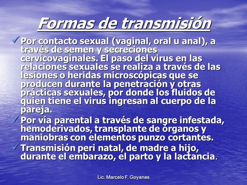 Formas de transmisión Por contacto sexual (vaginal, oral u anal), a través de semen y secreciones cervicovaginales. El paso del virus en las relacione
