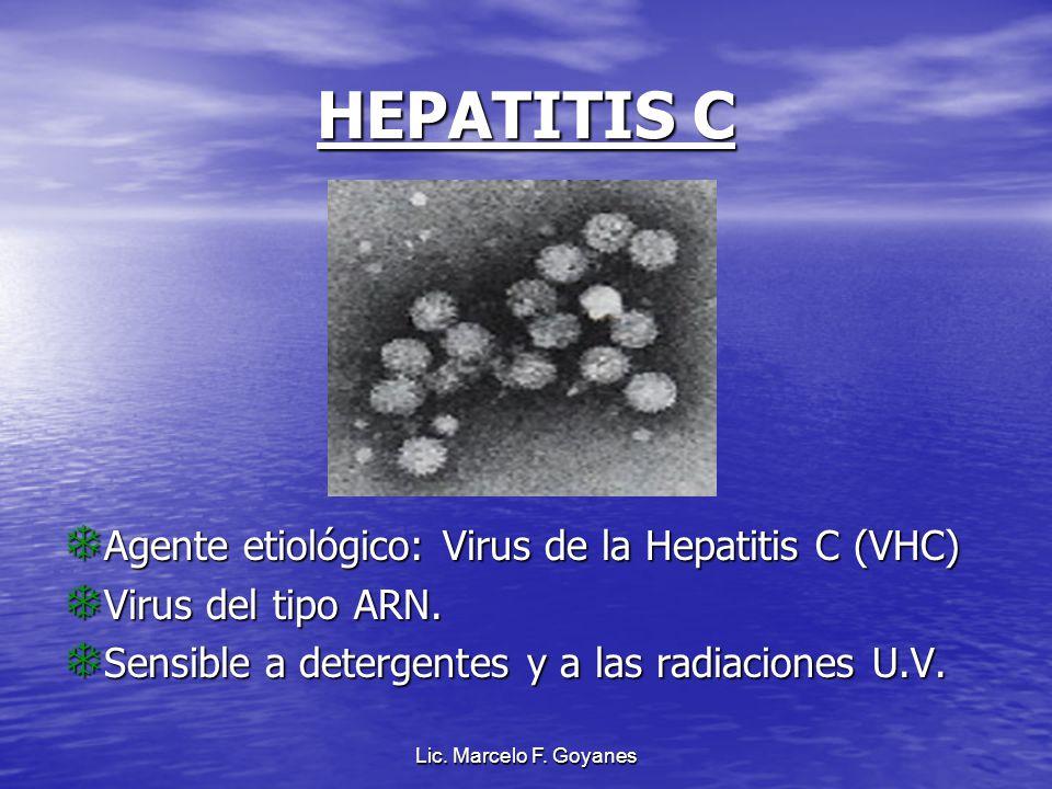Lic. Marcelo F. Goyanes HEPATITIS C Agente etiológico: Virus de la Hepatitis C (VHC) Virus del tipo ARN. Sensible a detergentes y a las radiaciones U.