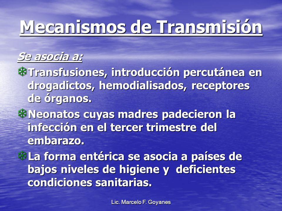Mecanismos de Transmisión Se asocia a: Transfusiones, introducción percutánea en drogadictos, hemodialisados, receptores de órganos. Transfusiones, in