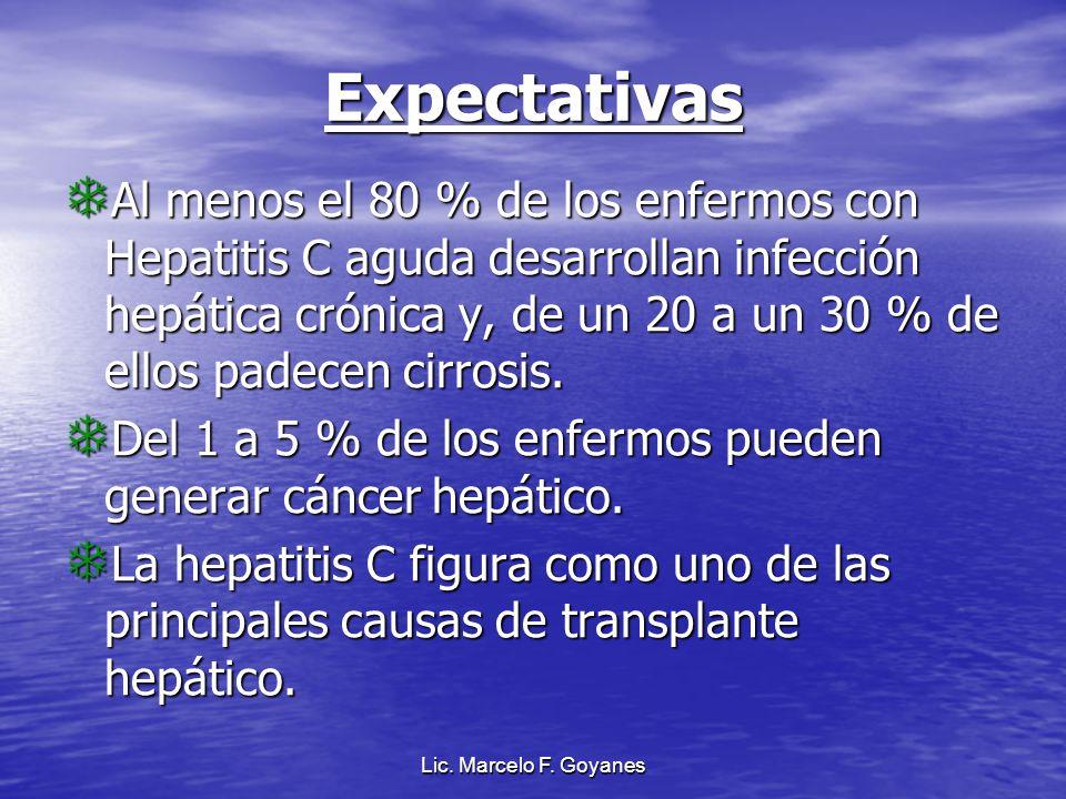 Lic. Marcelo F. Goyanes Expectativas Al menos el 80 % de los enfermos con Hepatitis C aguda desarrollan infección hepática crónica y, de un 20 a un 30