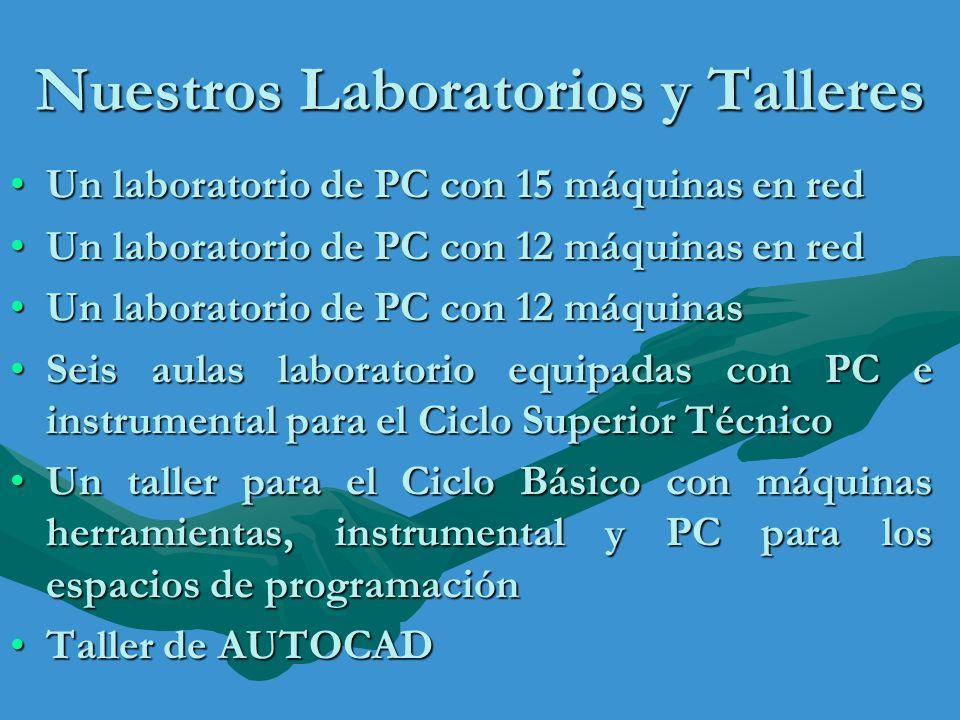 Nuestros Laboratorios y Talleres Un laboratorio de PC con 15 máquinas en redUn laboratorio de PC con 15 máquinas en red Un laboratorio de PC con 12 má