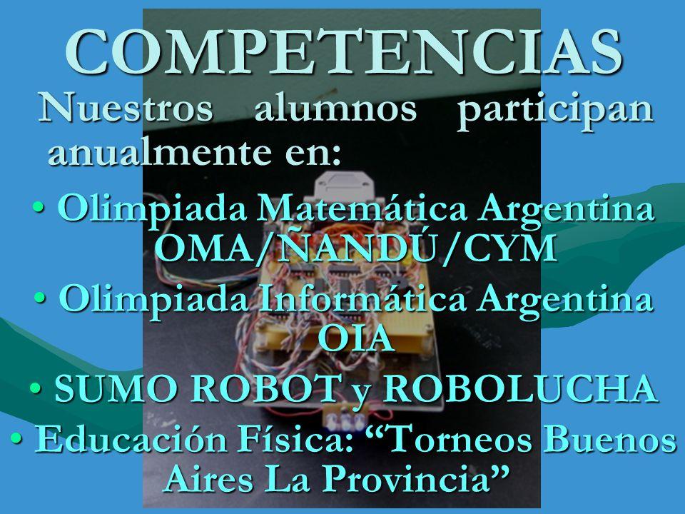 COMPETENCIAS Nuestros alumnos participan anualmente en: Nuestros alumnos participan anualmente en: Olimpiada Matemática Argentina OMA/ÑANDÚ/CYM Olimpi