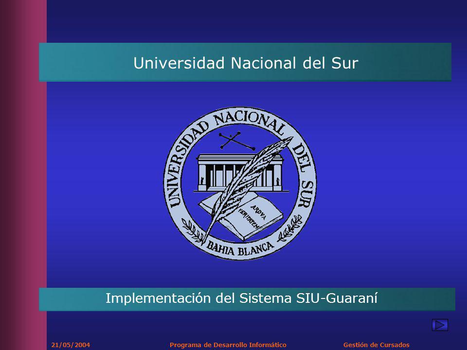 21/05/2004 Programa de Desarrollo Informático Gestión de Cursados Universidad Nacional del Sur Implementación del Sistema SIU-Guaraní