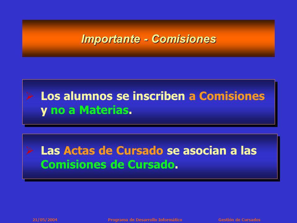 21/05/2004 Programa de Desarrollo Informático Gestión de Cursados Importante - Comisiones Los alumnos se inscriben a Comisiones y no a Materias.