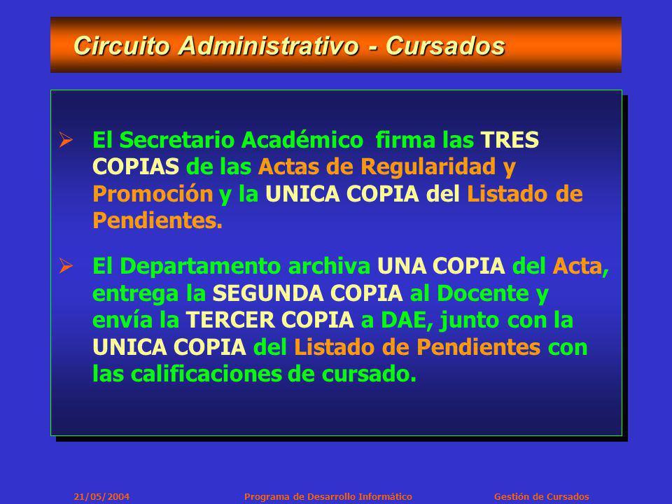 21/05/2004 Programa de Desarrollo Informático Gestión de Cursados Circuito Administrativo - Cursados Circuito Administrativo - Cursados El Secretario Académico firma las TRES COPIAS de las Actas de Regularidad y Promoción y la UNICA COPIA del Listado de Pendientes.