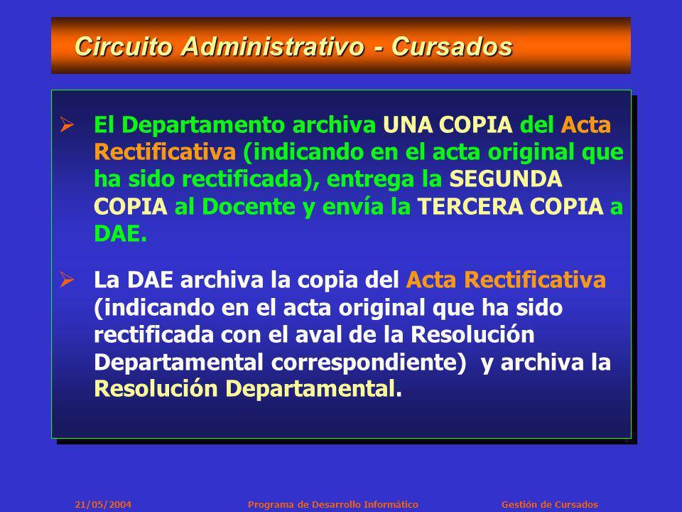 21/05/2004 Programa de Desarrollo Informático Gestión de Cursados Circuito Administrativo - Cursados Circuito Administrativo - Cursados El Departamento archiva UNA COPIA del Acta Rectificativa (indicando en el acta original que ha sido rectificada), entrega la SEGUNDA COPIA al Docente y envía la TERCERA COPIA a DAE.