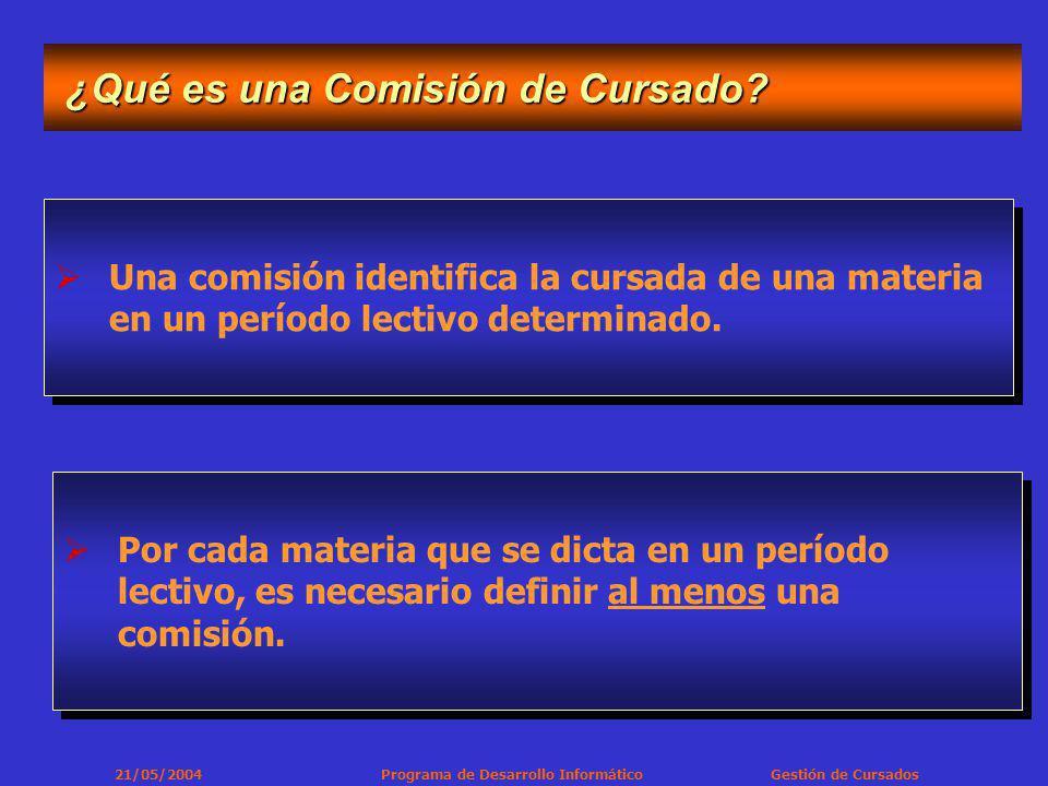 21/05/2004 Programa de Desarrollo Informático Gestión de Cursados ¿Qué es una Comisión de Cursado.