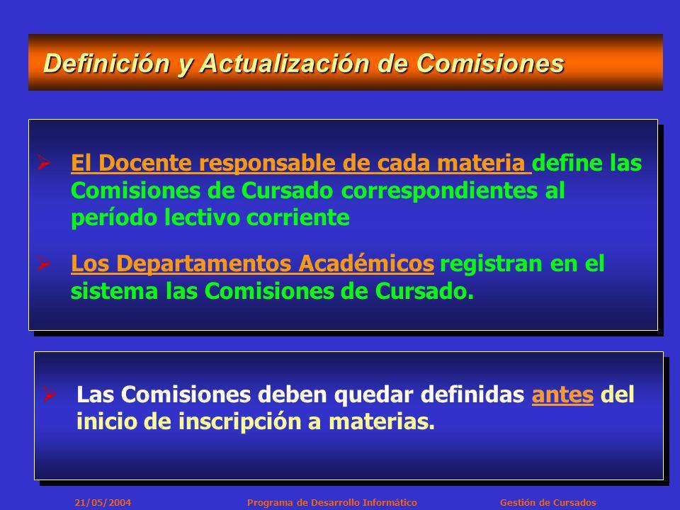 21/05/2004 Programa de Desarrollo Informático Gestión de Cursados El Docente responsable de cada materia define las Comisiones de Cursado correspondientes al período lectivo corriente Los Departamentos Académicos registran en el sistema las Comisiones de Cursado.