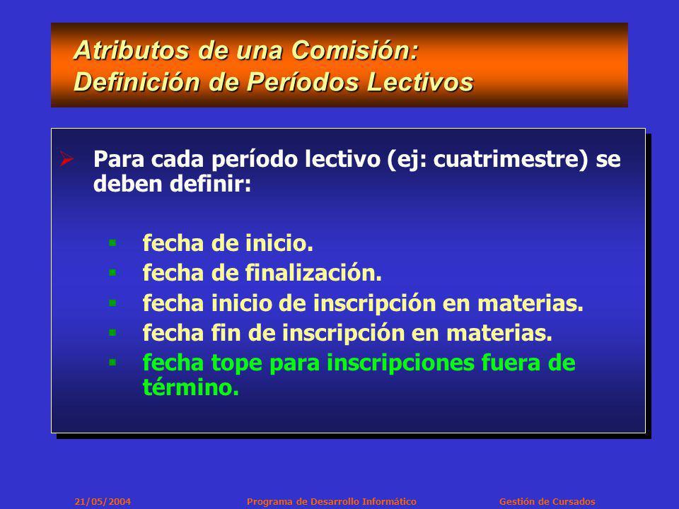 21/05/2004 Programa de Desarrollo Informático Gestión de Cursados Atributos de una Comisión: Definición de Períodos Lectivos Atributos de una Comisión: Definición de Períodos Lectivos Para cada período lectivo (ej: cuatrimestre) se deben definir: fecha de inicio.