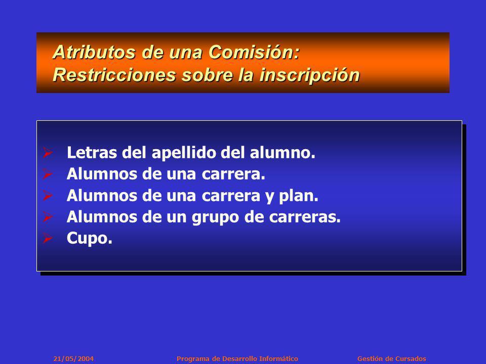 21/05/2004 Programa de Desarrollo Informático Gestión de Cursados Importante - Comisiones Por lo menos se debe crear una Comisión para cada materia que se dicte en el período lectivo.