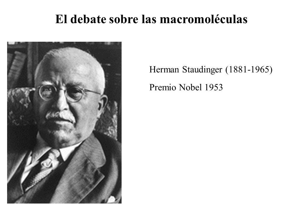Herman Staudinger (1881-1965) Premio Nobel 1953 El debate sobre las macromoléculas
