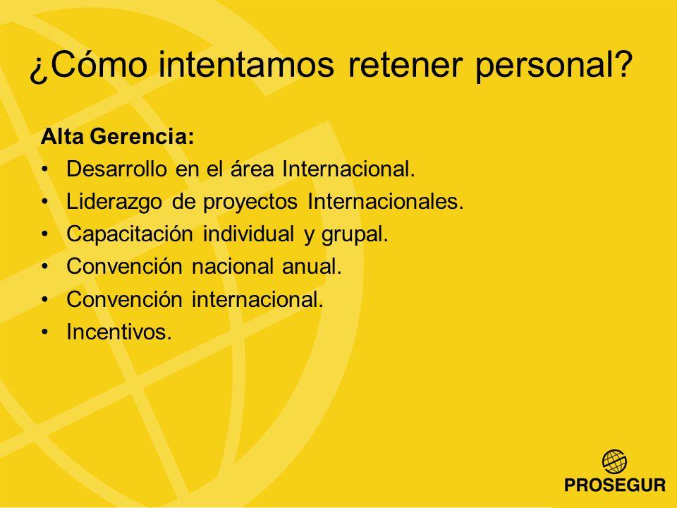 ¿Cómo intentamos retener personal.Alta Gerencia: Desarrollo en el área Internacional.