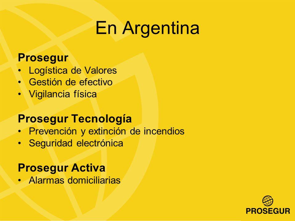 Prosegur Logística de Valores Gestión de efectivo Vigilancia física Prosegur Tecnología Prevención y extinción de incendios Seguridad electrónica Prosegur Activa Alarmas domiciliarias En Argentina