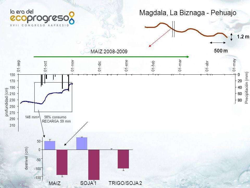 pre siembra (11-11-06) 0 0.5 1 1.5 2 2.5 3 1.522.533.544.55 Prof napa (m) salinidad (dS/m) efecto sobre salinidad El Consuelo, LIAG – V.