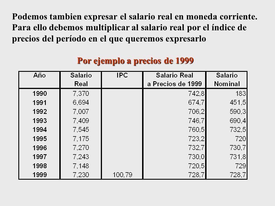 Podemos tambien expresar el salario real en moneda corriente.