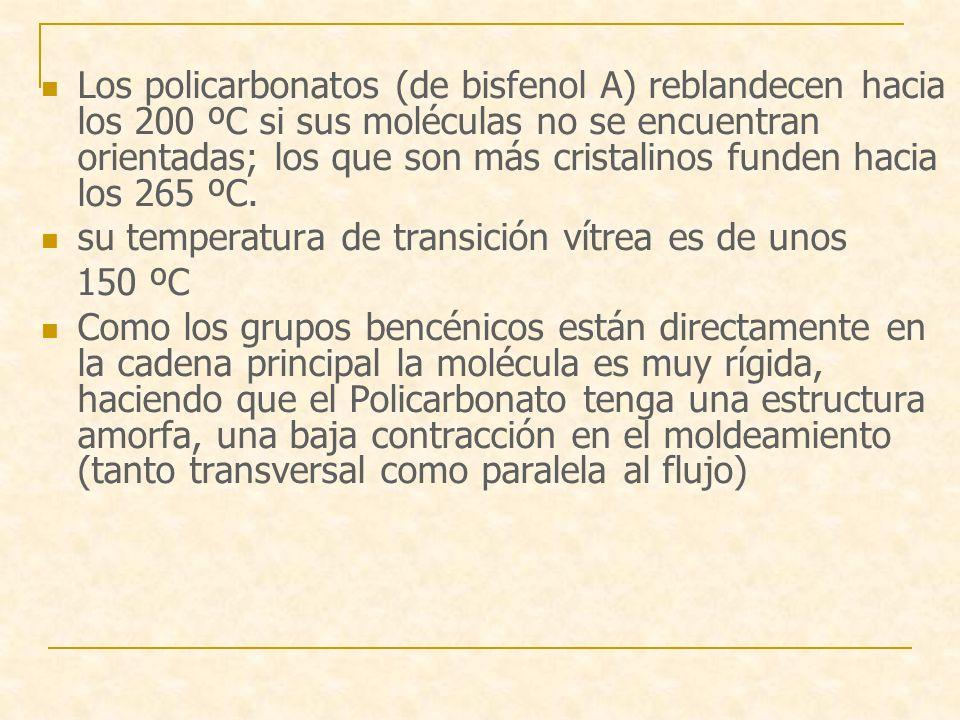 Los policarbonatos (de bisfenol A) reblandecen hacia los 200 ºC si sus moléculas no se encuentran orientadas; los que son más cristalinos funden hacia los 265 ºC.