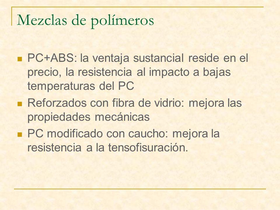 Mezclas de polímeros PC+ABS: la ventaja sustancial reside en el precio, la resistencia al impacto a bajas temperaturas del PC Reforzados con fibra de vidrio: mejora las propiedades mecánicas PC modificado con caucho: mejora la resistencia a la tensofisuración.
