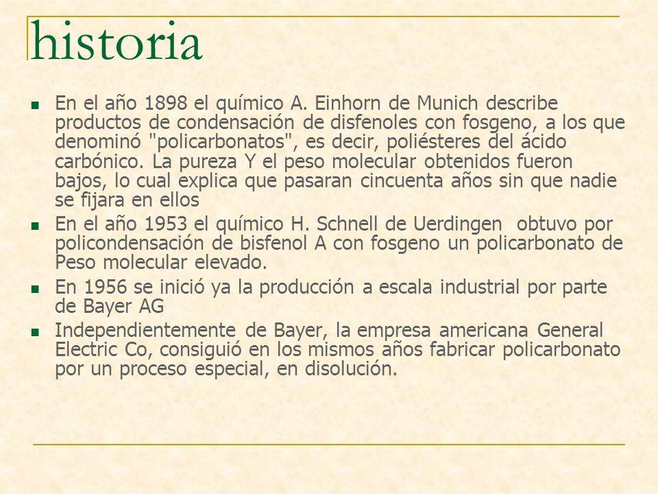 historia En el año 1898 el químico A. Einhorn de Munich describe productos de condensación de disfenoles con fosgeno, a los que denominó