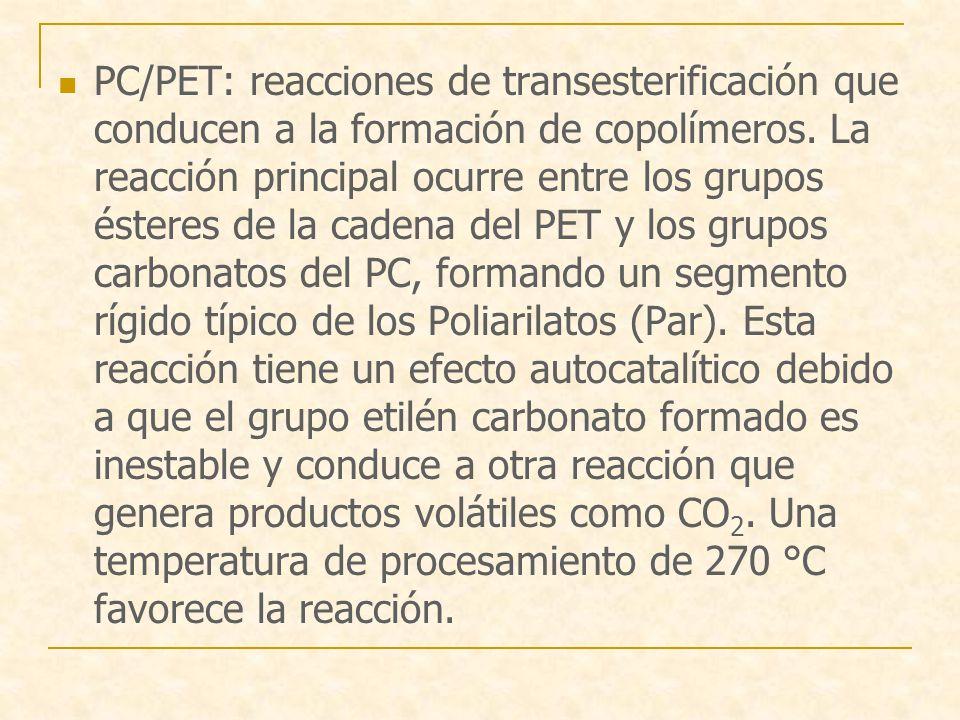 PC/PET: reacciones de transesterificación que conducen a la formación de copolímeros. La reacción principal ocurre entre los grupos ésteres de la cade
