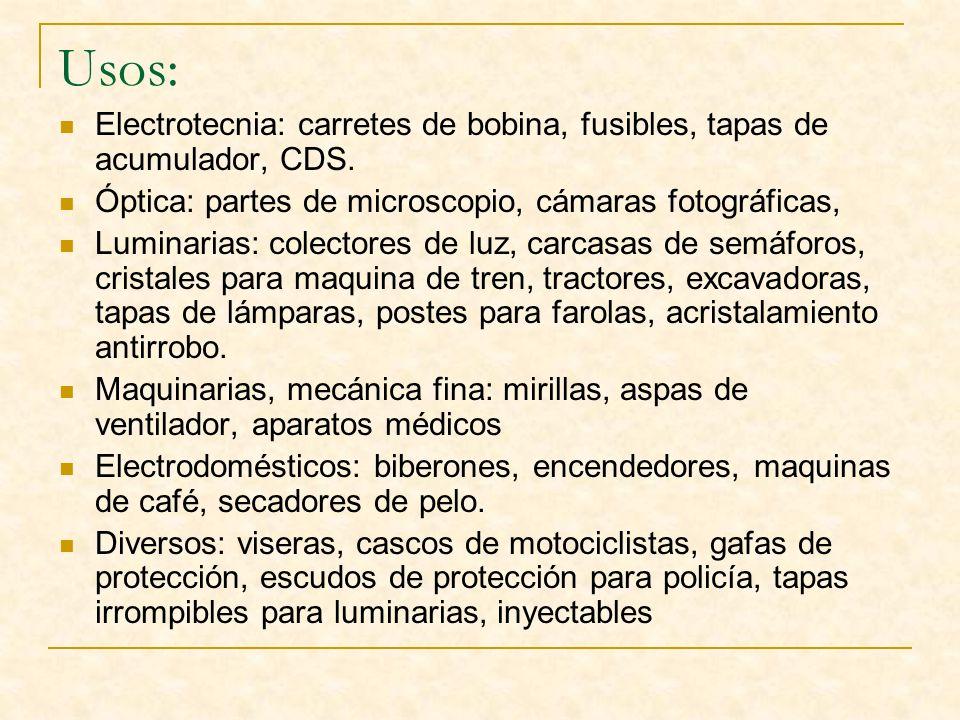 Usos: Electrotecnia: carretes de bobina, fusibles, tapas de acumulador, CDS. Óptica: partes de microscopio, cámaras fotográficas, Luminarias: colector