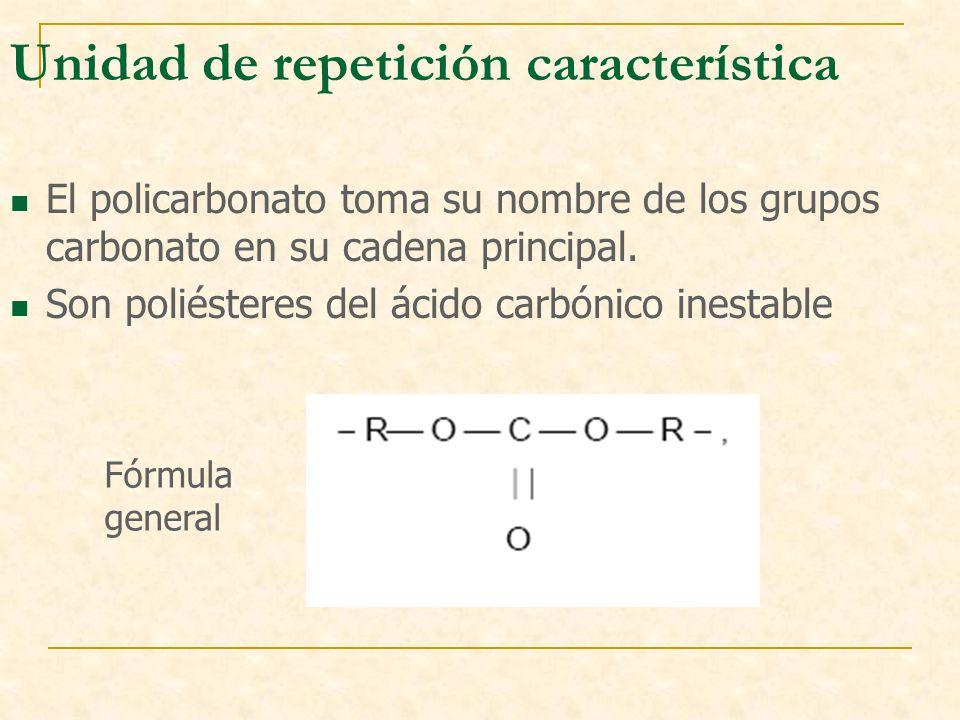 Unidad de repetición característica El policarbonato toma su nombre de los grupos carbonato en su cadena principal. Son poliésteres del ácido carbónic