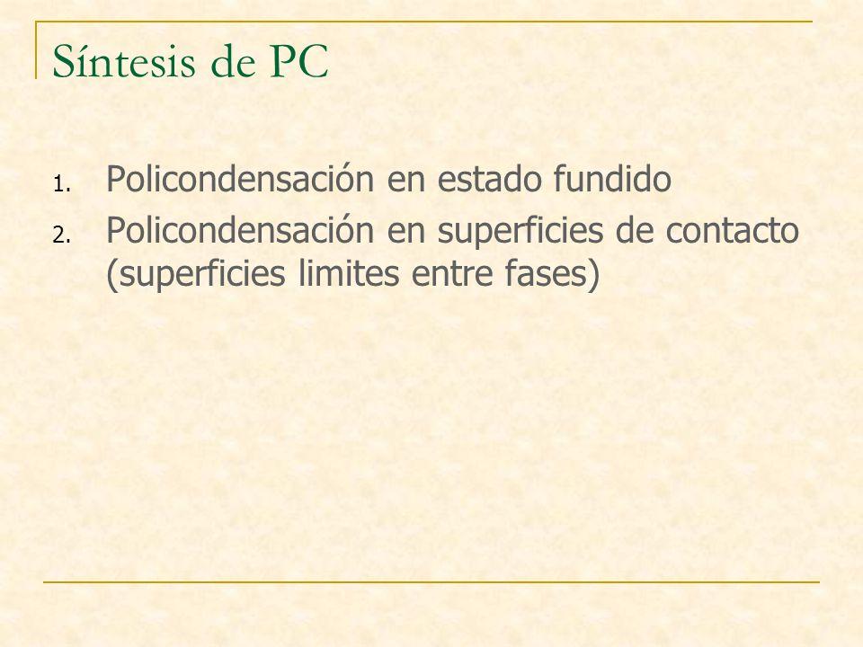 Síntesis de PC 1. Policondensación en estado fundido 2. Policondensación en superficies de contacto (superficies limites entre fases)