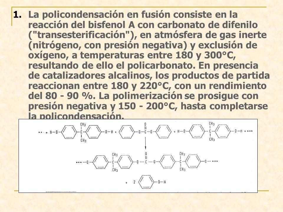 1.La policondensación en fusión consiste en la reacción del bisfenol A con carbonato de difenilo ( transesterificación ), en atmósfera de gas inerte (nitrógeno, con presión negativa) y exclusión de oxígeno, a temperaturas entre 180 y 300°C, resultando de ello el policarbonato.