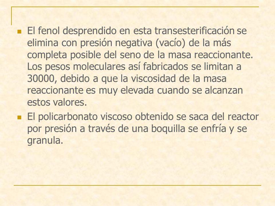 El fenol desprendido en esta transesterificación se elimina con presión negativa (vacío) de la más completa posible del seno de la masa reaccionante.