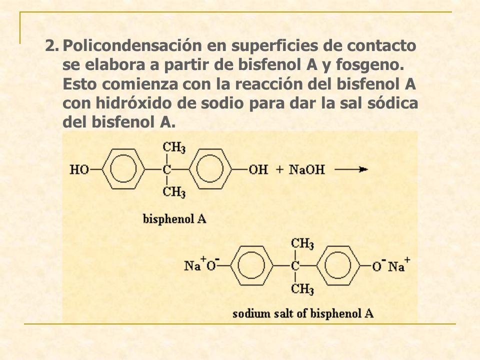 2.Policondensación en superficies de contacto se elabora a partir de bisfenol A y fosgeno. Esto comienza con la reacción del bisfenol A con hidróxido