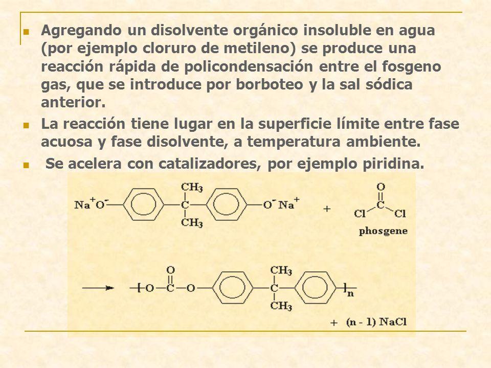 Agregando un disolvente orgánico insoluble en agua (por ejemplo cloruro de metileno) se produce una reacción rápida de policondensación entre el fosge
