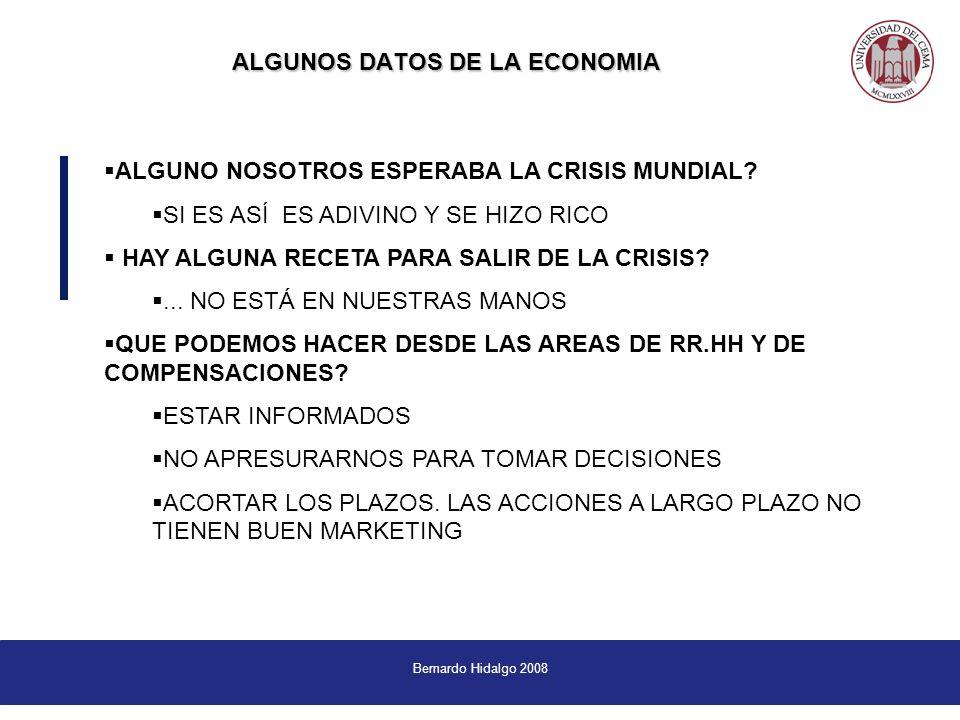 Bernardo Hidalgo 2008 ALGUNOS DATOS DE LA ECONOMIA ALGUNO NOSOTROS ESPERABA LA CRISIS MUNDIAL.