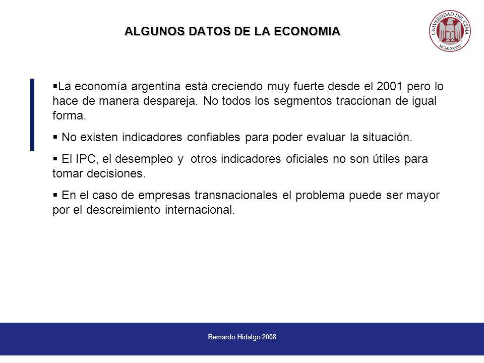 Bernardo Hidalgo 2008 ALGUNOS DATOS DE LA ECONOMIA La economía argentina está creciendo muy fuerte desde el 2001 pero lo hace de manera despareja.