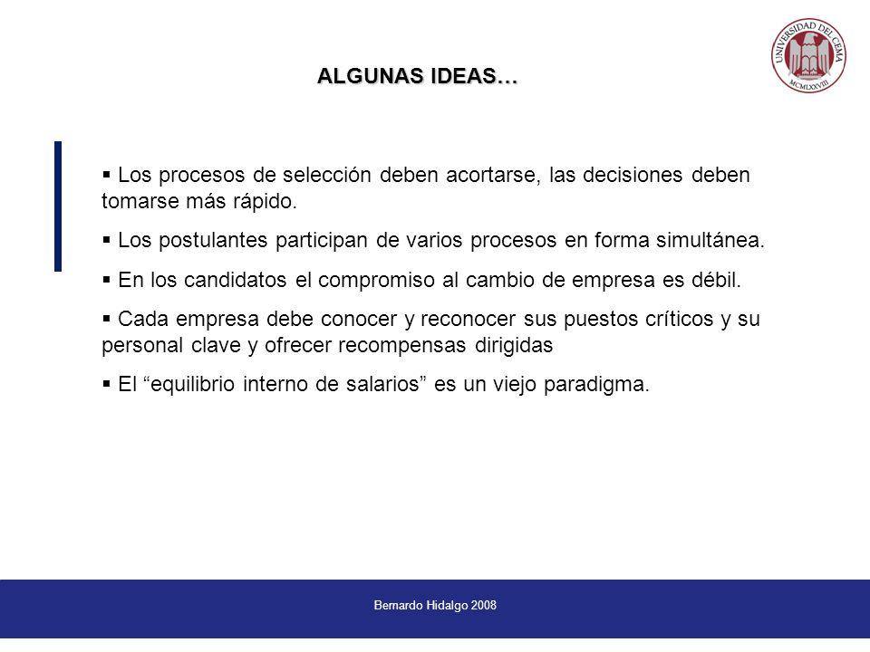 Bernardo Hidalgo 2008 ALGUNAS IDEAS… ALGUNAS IDEAS… Los procesos de selección deben acortarse, las decisiones deben tomarse más rápido.