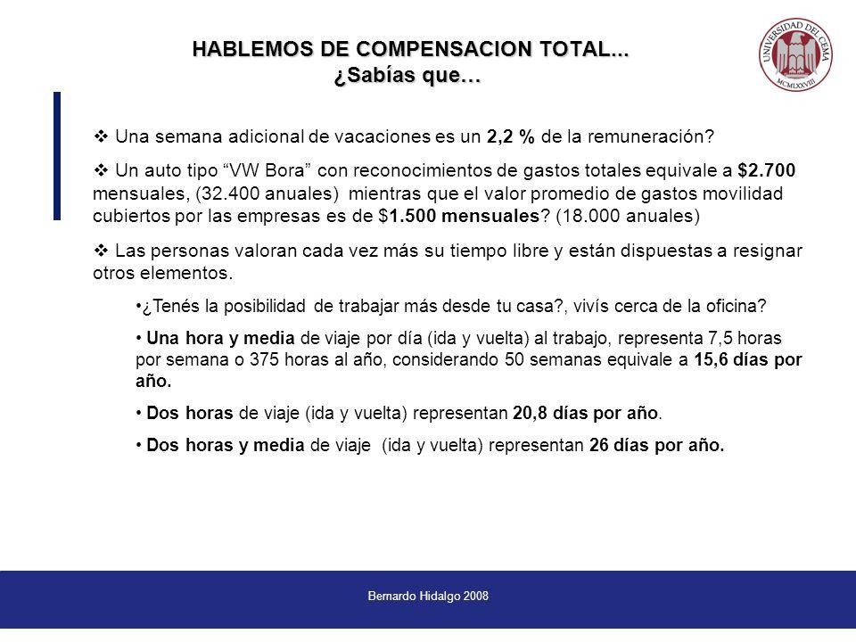 Bernardo Hidalgo 2008 Una semana adicional de vacaciones es un 2,2 % de la remuneración.