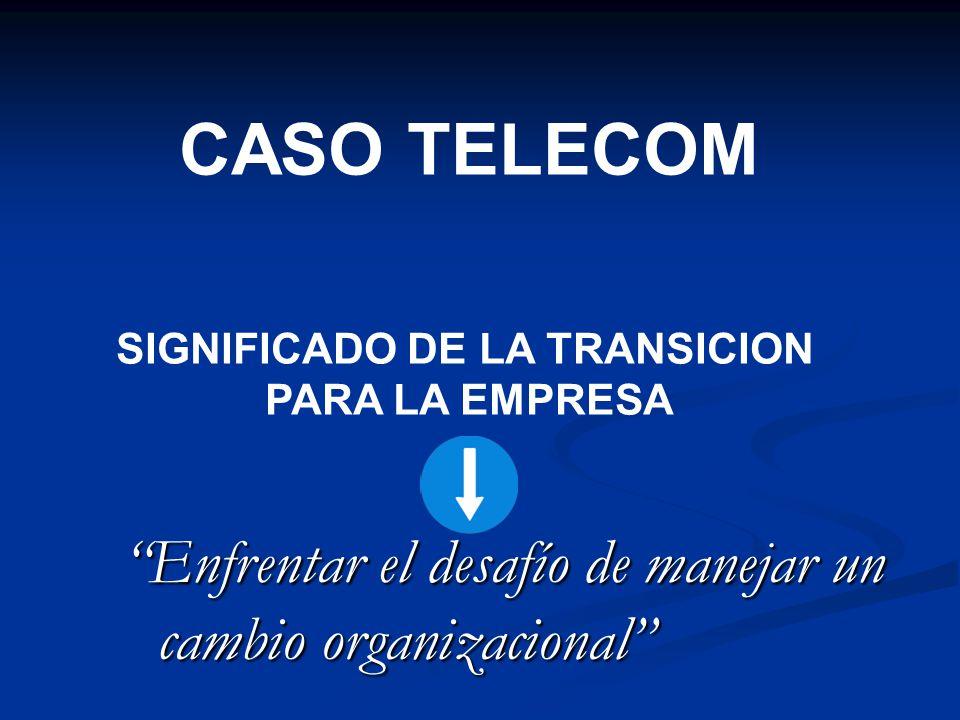 Enfrentar el desafío de manejar un cambio organizacional CASO TELECOM SIGNIFICADO DE LA TRANSICION PARA LA EMPRESA